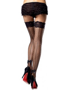 Calze A Rete Hosiery Stay Up Backseam Black